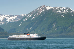 Alaska ferry traversing the Inside Passage
