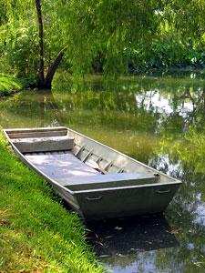 aluminum flat boat in a Louisiana bayou
