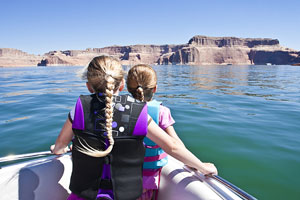 girls enjoying a boat ride on Lake Powell, Arizona