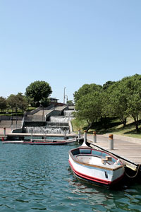 boats on a lake in an Omaha, Nebraska park
