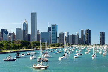 marina on Lake Michigan with Chicago skyline background