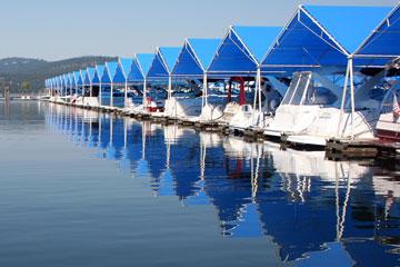 boats at Coeur-d'Alene marina, Idaho