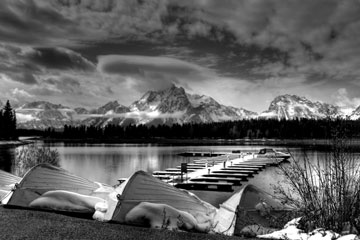 winter at Colter Bay Marina, Wyoming