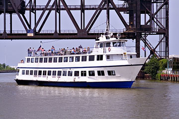 dinner cruise boat on Cuyahoga River in Cleveland, Ohio