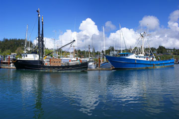 two fishing trawlers at Yaquina Bay, along the Oregon coast