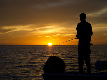 fishing from a motorboat near Gulfport, Mississippi