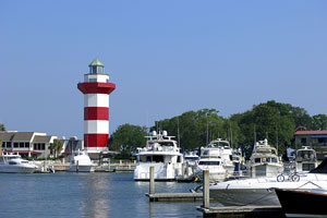 yachts and lighthouse at Hilton Head Island, South Carolina
