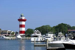 yachts and lighthouse at Hilton Head Island, South Carolina