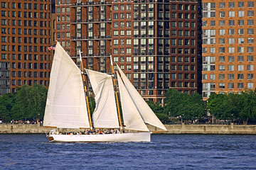 sailing on the Hudson River near Manhattan