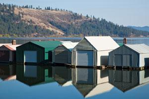 boathouses on an Idaho Lake