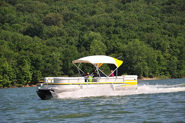 pontoon boat on Brookville Lake, Indiana
