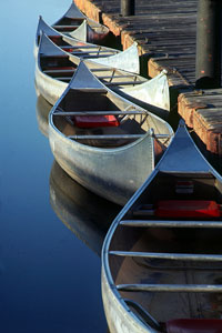 canoes on a lake at Shawnee Mission Park, Kansas