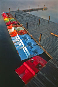 colorful paddleboats at Shawnee Mission Park, Kansas