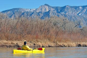 kayaking near the Sandia Mountains, New Mexico