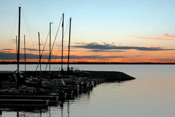 sailboats docked at sunset on Lake Hefner, Oklahoma