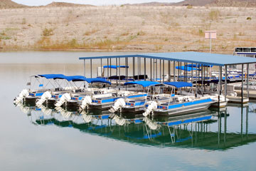 blue boats at a Lake Mead marina