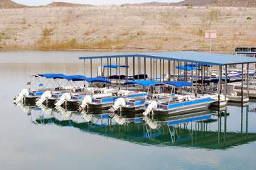 blue boats at a Lake Mead marina