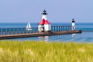 sailboat on Lake Michigan near St. Joseph lighthouses