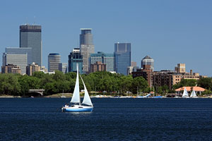 sailboat on the Mississippi River in Minneapolis