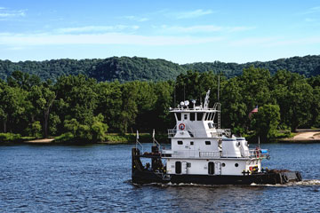towboat on the Mississippi River in Minnesota