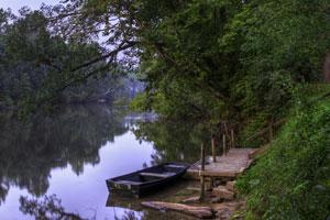 rowboat in the Meramac River near St. Louis, Missouri