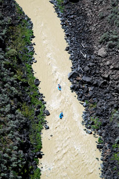 kayakers on the Rio Grande River near Taos, New Mexico