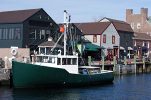 boat anchored at Newport, Rhode Island harbor