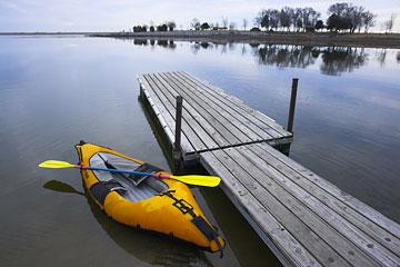 orange kayak on a Nebraska lake