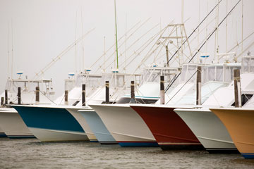 fishing boats at the Oregon Inlet marina
