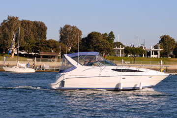 power boat at Marina Del Rey, California