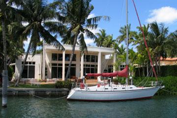 docked sailboat near Miami, Florida
