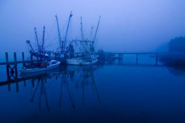 shrimp boats on a misty morning in South Carolina