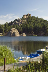 paddle boats on Sylvan Lake in South Dakota's Black Hills