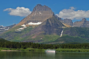 tour boat on Swiftcurrent Lake in Glacier National Park, Montana