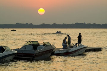 boats at sunset on West Okoboji Lake, Iowa
