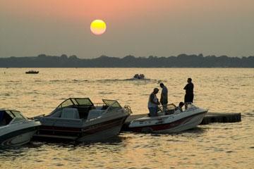 boats at sunset on West Okoboji Lake, Iowa
