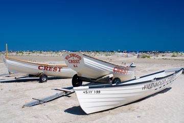 lifeboats on the beach at Wildwood Crest, New Jersey